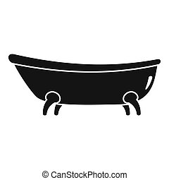 Retro bathtube icon, simple style