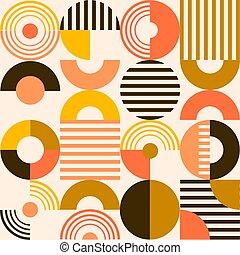 Retro Bauhaus Modern Art Circle Pattern