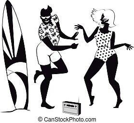 Retro beach party clip-art