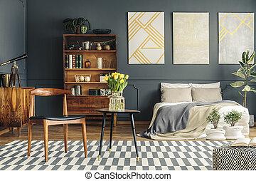 Retro bedroom interior