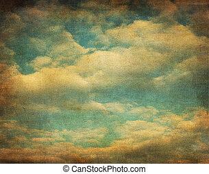 retro, beeld, van, bewolkte hemel