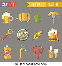 Retro Beer Alcohol Symbols  Vector Illustration