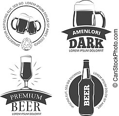 Retro beer goods vector emblems, labels, badges, logos set
