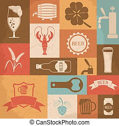 Retro beer icons set. Vector illustration