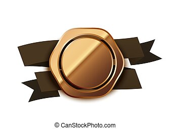 Retro beige glossy badge, luxury label with brown tape on white
