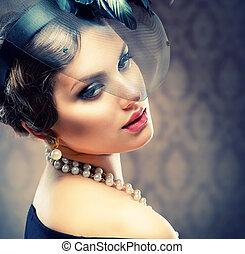 retro, beleza, portrait., vindima, styled., bonito, mulher jovem