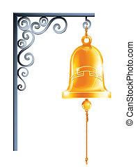 retro bell at bracket vector illustration isolated on white background eps10