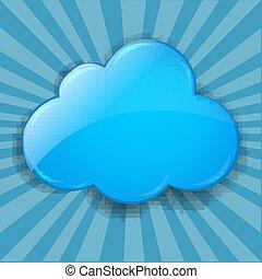 retro, bersten, hintergrund, mit, wolke