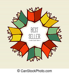 Retro best seller book flower. - Vintage flower book best...