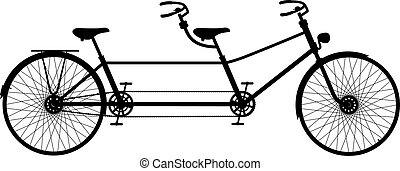 retro, bicicleta tandem