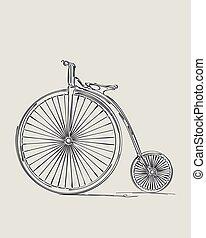 retro, bicicletta, schizzo, penny-farthing