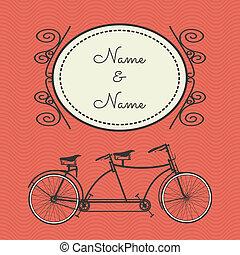 retro, bicikli, kártya