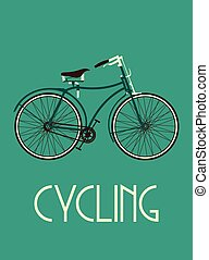 retro, bicikli, poszter