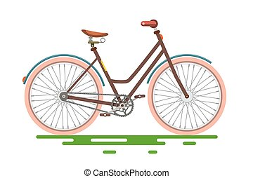 Retro Bicycle. Bike Isolated on White Background.