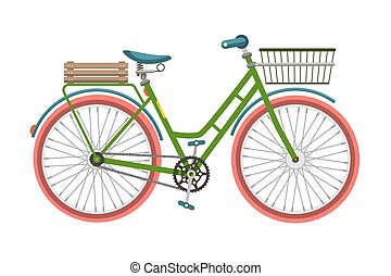 Retro Bicycle. Bike with Basket Isolated on White Background.