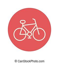 retro bicycle block and line icon