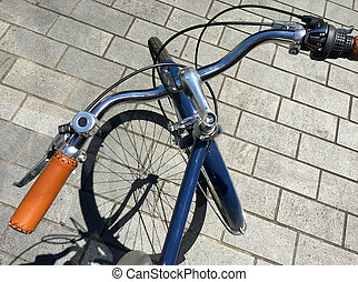 Retro bicycle handlebar - Above view of blue retro bicycle...