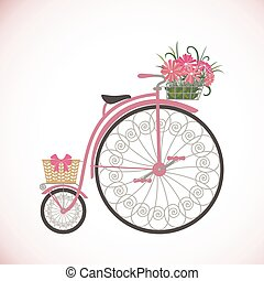 Retro Bicycle in flat style with basket.