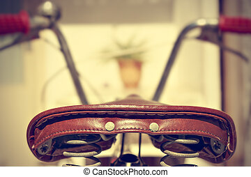 Retro bicycle saddle detail. Vintage style.