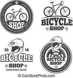 Retro bicycle shop, bike sport vector labels, emblems, badges