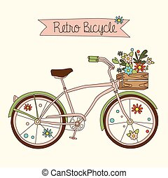 Retro bicycle. Vector illustration. - Retro bicycle with...
