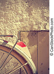 Retro bicycle wheel detail. Vintage style.