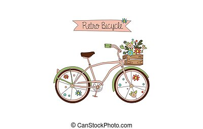 Retro bicycle with a basket of flowers had drawn vector Illustration