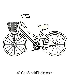 retro bicycle with basket icon