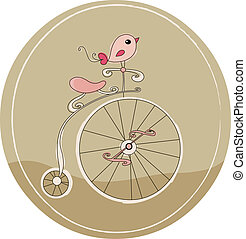 Retro bicycle with bird