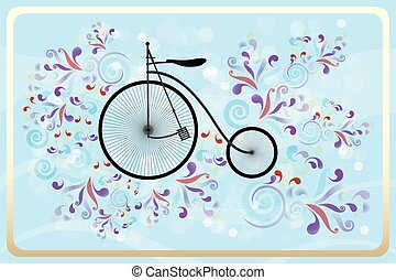 Retro bicycle with colorful swirls on blue waves and bubbles background