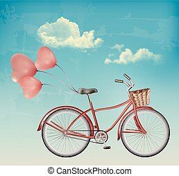 Retro bicycle with red heart shaped balloons.
