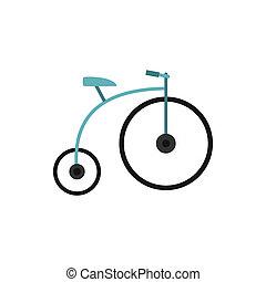 Retro bike icon, flat style