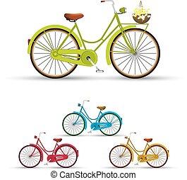 Retro Bike illustration flowers