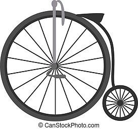 Retro bike, illustration, vector on white background.
