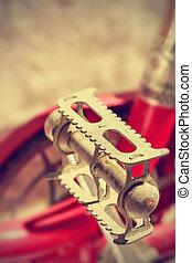 Retro bike pedal. Vintage style.