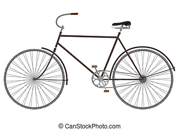Silhouette of an old black bicycle on a white background.