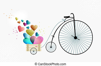 Retro bike taking love - Valentine day vintage bike of love....