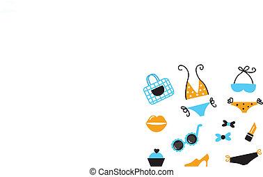 retro, bikini, icônes, et, accessoires, isolé, blanc, -, bleu, ora