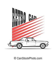 retro, bil, in, årgång, stil