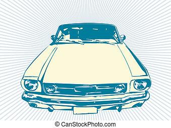 retro, bil