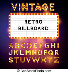 retro, billboard, vetorial