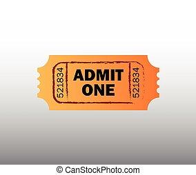retro, bioscoop, ticket