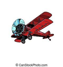 retro biplane aircraft