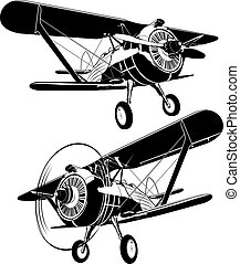 retro biplane silhouettes set. Available EPS-8 vector format separated by groups and layers for easy edit