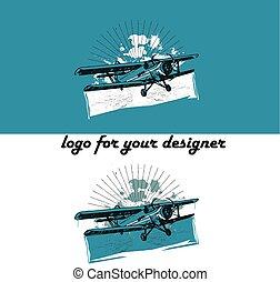 Retro biplane vintage illustration