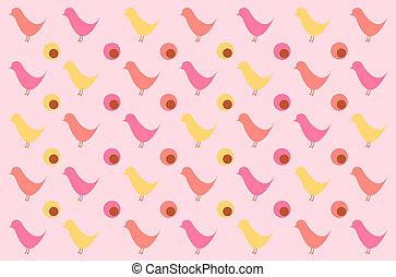 Retro bird pattern for background