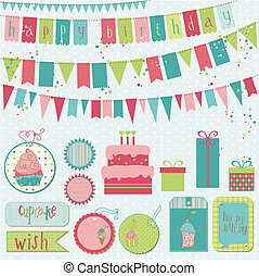 Retro Birthday Celebration Design Elements - for Scrapbook, ...