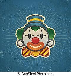 Retro Birthday Clown - Retro grunge clown illustration on...