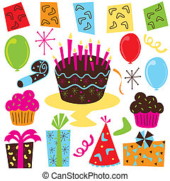 Retro Birthday Party clipart with birthday cake, cupcakes,...