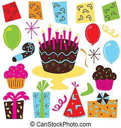 Retro Birthday Party clipart with birthday cake, cupcakes, ...